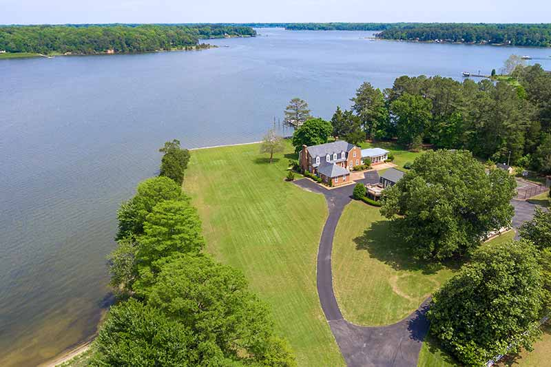 River Home aerial view