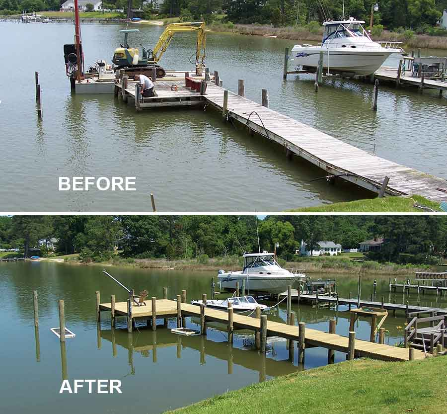 Before and after pier replacement