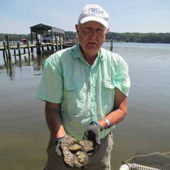 Terry Lewis with oysters