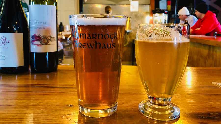 Glasses of beer at Kilmarnock Brewhaus