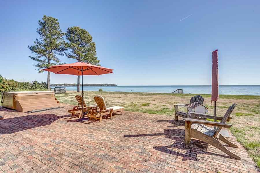 Brick patio area overlooking Chesapeake Bay