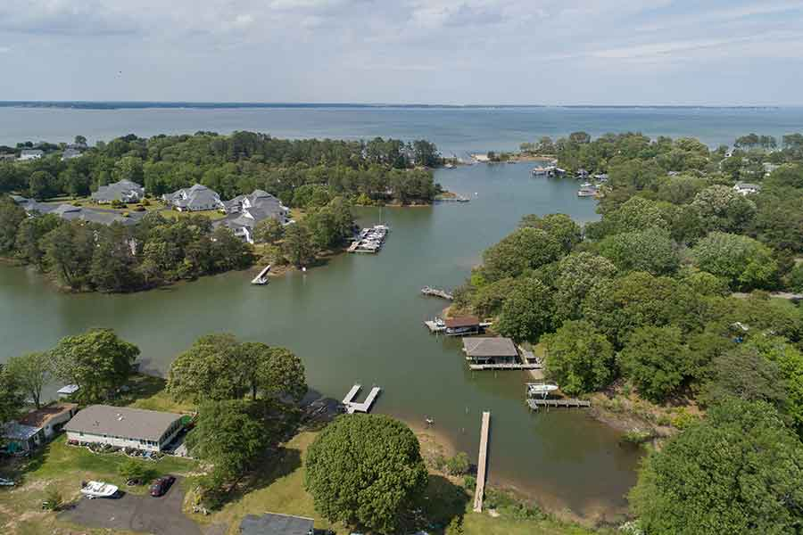 Deltaville aerial view showing Rappahannock River