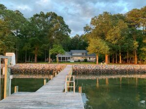 Waterfront home with Pier and rip-rap